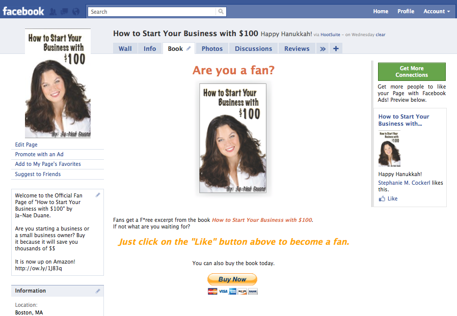 How to Start a Biz with $100 Facebook Page