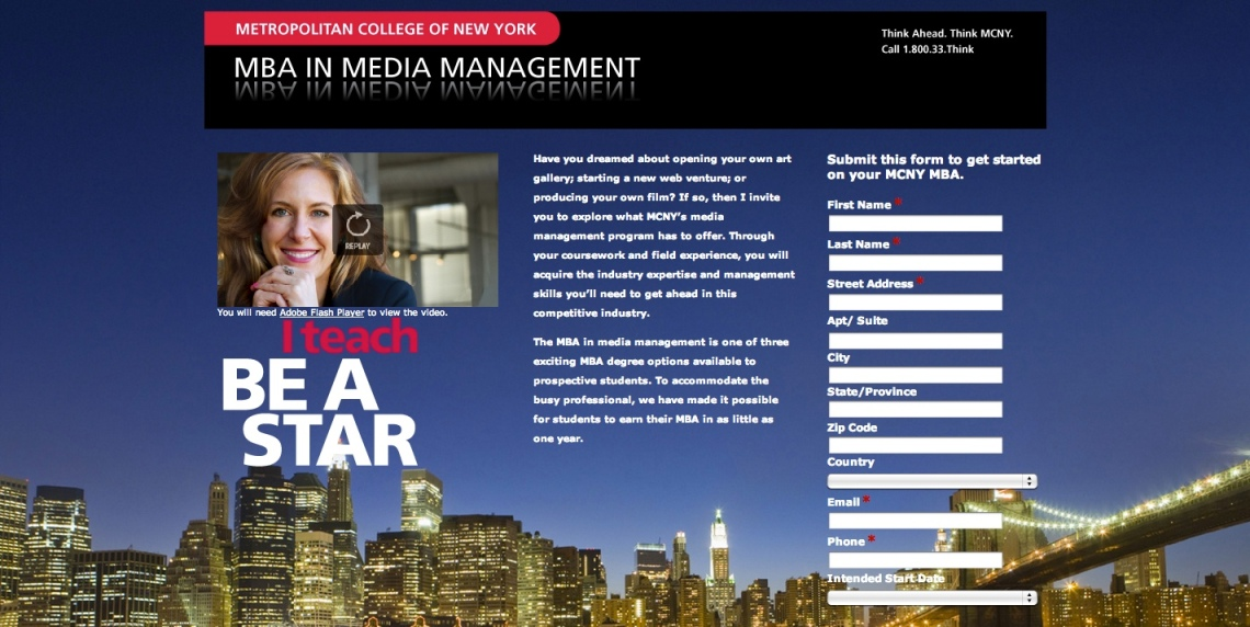 Metropolitan College of New York Landing Pagefor Creative Partners