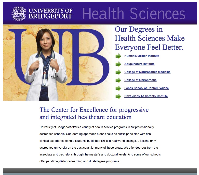 University of Bridgeport for Creative Partners Landing Page